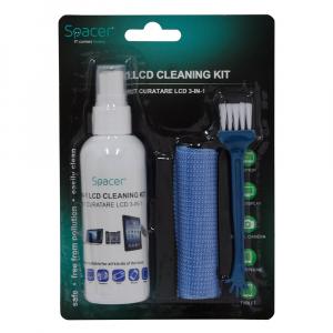 """KIT curatare LCD 3-in-1 Spacer, solutie curatare 100ml, pensula, servetel microfibre, """"SP-CL-01"""" [1]"""