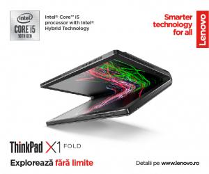 """Laptop 2in1 LENOVO ThinkPad X1 FOLD Gen 1, cu ecran pliabil, Intel Core i5-L16G7 (5C / 5T, 1.4 / 3.0GHz, 4MB), 8GB, 512GB SSD, 13.3"""" QXGA,  Windows 10 Pro 644"""