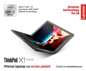 """Laptop 2in1 LENOVO ThinkPad X1 FOLD Gen 1, cu ecran pliabil, Intel Core i5-L16G7 (5C / 5T, 1.4 / 3.0GHz, 4MB), 8GB, 512GB SSD, 13.3"""" QXGA,  Windows 10 Pro 643"""