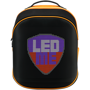 LEDme backpack, animated backpack with LED display, Nylon+TPU material, Dimensions 42*31.5*20cm, LED display 64*64 pixels, orange0