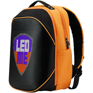 LEDme backpack, animated backpack with LED display, Nylon+TPU material, Dimensions 42*31.5*20cm, LED display 64*64 pixels, orange2