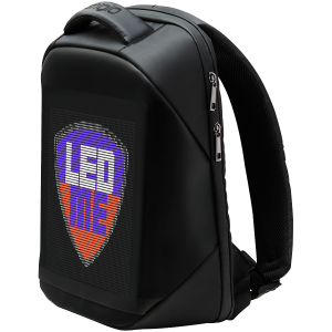 LEDme backpack, animated backpack with LED display, Polyester+TPU material, Dimensions 42*31.5*15cm, LED display 64*64 pixels, black1