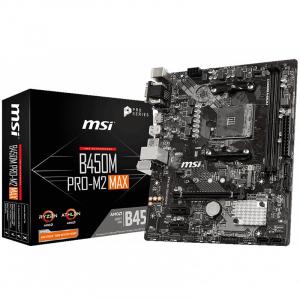 MSI Main Board Desktop B450 (SAM4, 2xDDR4, 1xPCI-Ex16, 2xPCI-Ex1, USB3.2, USB2.0, 4xSATA III, M.2, Raid, VGA, DVI-D, HDMI, GLAN) mATX Retail [0]