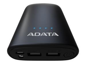 "POWER BANK ADATA 10050mAh, 2 x USB, 4 x LED pt. status baterie, P10050V 10.050 mAh, total 2.4A, lanterna LED, black ""AP10050V-DUSB-CBK""3"