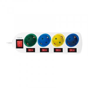 "PRELUNGITOR LOGILINK, Schuko x 4, conectare prin Schuko (T), cablu 1.5 m, 16 A, 5 x on/off cu iluminare, protectie copii, grosime 1.5mm2, alb cu Schuko multicolor, ""LPS257""1"