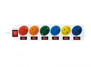 "PRELUNGITOR LOGILINK, Schuko x 6, conectare prin Schuko (T), cablu 1.5 m, 16 A, 7 x on/off cu iluminare, protectie copii, grosime 1.5mm2, alb cu Schuko multicolor, ""LPS259""1"