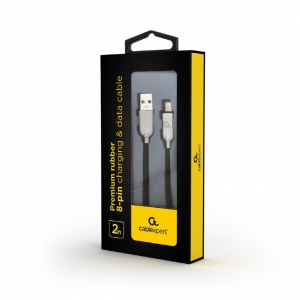 """Premium rubber 8-pin charging and data cable, 2 m, black """"CC-USB2R-AMLM-2M""""1"""