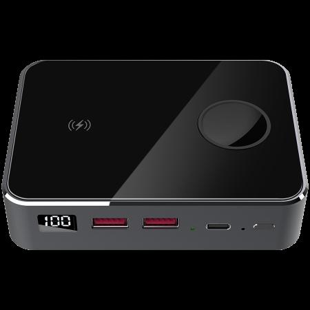 Prestigio Graphene PD PRO Watch Edition, fast charging powerbank, 20000 mAh, 2*USB3.0 QC, 1*Type-C PD, wireless charger 10W, Apple Watch wireless charger 2,5W, LED indicator, leather case, cable type  [0]