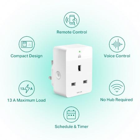 """PRIZA inteligenta TP-LINK, Slim, Schuko x 1, conectare prin Schuko (T), 16 A, programare prin smartphone, Wi-Fi, alb """"KP105P2"""" (include TV 0.15 lei)1"""