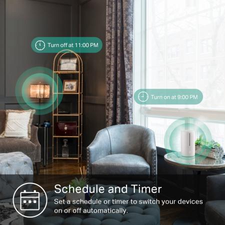 """PRIZA inteligenta TP-LINK, Slim, Schuko x 1, conectare prin Schuko (T), 16 A, programare prin smartphone, Wi-Fi, alb """"KP105P2"""" (include TV 0.15 lei)5"""