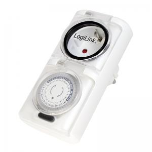 """PRIZA LOGILINK  1 x priza Schuko 16A, 3680W, programabila mecanic, minim 30min - maxim 24h, outdoor, capac protectie copil, 2buc la set, white, """"ET0006A""""0"""