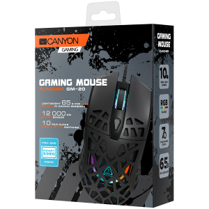 Puncher GM-20 High-end Gaming Mouse with 7 programmable buttons, Pixart 3360 optical sensor, 6 levels of DPI and up to 12000, 10 million times key life, 1.65m Ultraweave cable, Low friction with PTFE 3