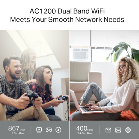 """ROUTER TP-LINK wireless 1200Mbps, MU-MIMO, 4 porturi Gigabit, 4 antene externe, Dual Band AC1200 """"Archer C64"""" (include timbru verde 1.5 lei) [3]"""