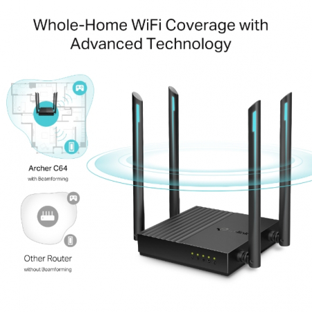 """ROUTER TP-LINK wireless 1200Mbps, MU-MIMO, 4 porturi Gigabit, 4 antene externe, Dual Band AC1200 """"Archer C64"""" (include timbru verde 1.5 lei) [4]"""