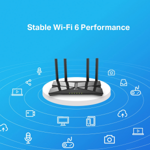 "ROUTER TP-LINK wireless 1500Mbps,1 x WAN Gigabit, 4 porturi LAN Gigabit, 2.4 GHz/5 GHz dual band, 4 antene externe, WI-FI 6,  ""Archer AX10"" (include timbru verde 1 leu) [3]"
