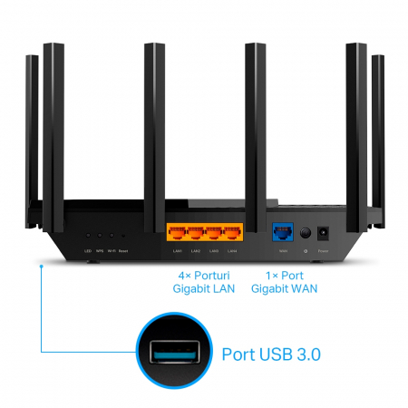"ROUTER TP-LINK wireless 5400Mbps,1 x WAN Gigabit, 4 porturi Gigabit, 1 x USB 3.0, 2.4 Ghz/5 Ghz dual band, 6 antene externe, WI-FI 6 ""Archer AX73"" (include timbru verde 1.5 lei)2"