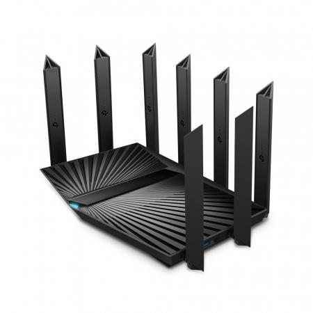 "ROUTER TP-LINK wireless 6600Mbps,1 x 2.5 Gbps WAN/LAN, 1 x 1 Gbps WAN/LAN, 3 x Gigabit LAN si 2 x USB, 2.4 Ghz/5 Ghz dual band, 8 antene externe, WI-FI 6 ""Archer AX90"" (include timbru verde 1.5 lei) [1]"