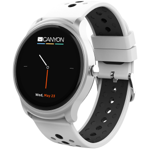 Smart watch, 1.3inches IPS full touch screen, Silver Alloy+plastic body,IP68 waterproof, multi-sport mode with swimming mode, compatibility with iOS and android,white-black with extra black belt, Host1