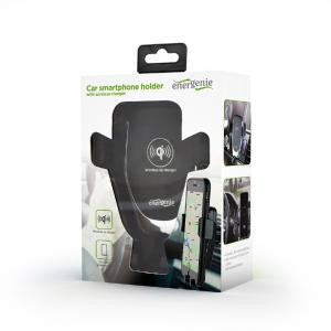 "SUPORT auto GEMBIRD pt. SmartPhone, 2 in 1, fixare in grilaj bord, incarcare wireless Qi 10W, sistem auto-lock, rotire 360 grade, black, ""EG-TA-CHAV-QI10-01""4"