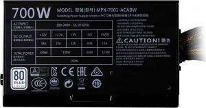 "SURSA COOLER MASTER  MasterWatt Lite, 700W (real), silent HDB fan 120mm, 85% eficienta, 4x PCI-E (6+2), 6x S-ATA ""MPX-7001-ACABW-EU""1"