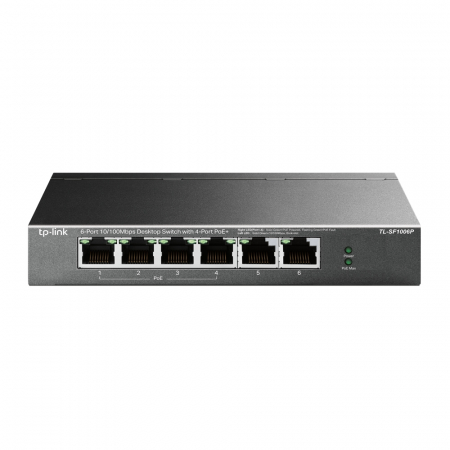 "SWITCH PoE TP-LINK  6 porturi 10/100Mbps (4 PoE+), IEEE 802.3af/at, carcasa metalica ""TL-SF1006P"" (include timbru verde 1.5 lei)0"