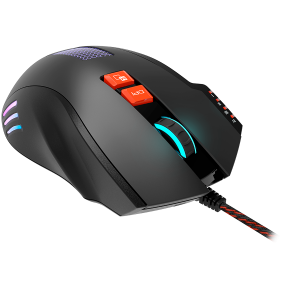 Wired Gaming Mouse with 8 programmable buttons, sunplus optical 6651 sensor, 4 levels of DPI default and can be up to 6400, 10 million times key life, 1.65m Braided USB cable, Matt UV coating surface 2