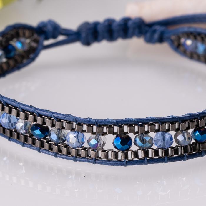 Bratara ajustabila pe snur cu pietricele albastre [0]