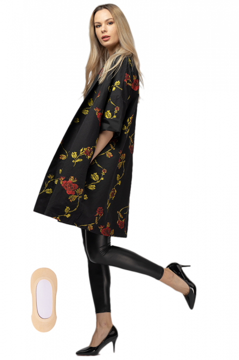 Jacheta midi oversize trendy, neagra cu imprimeu floral 3