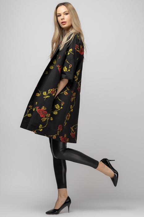 Jacheta midi oversize trendy, neagra cu imprimeu floral 1