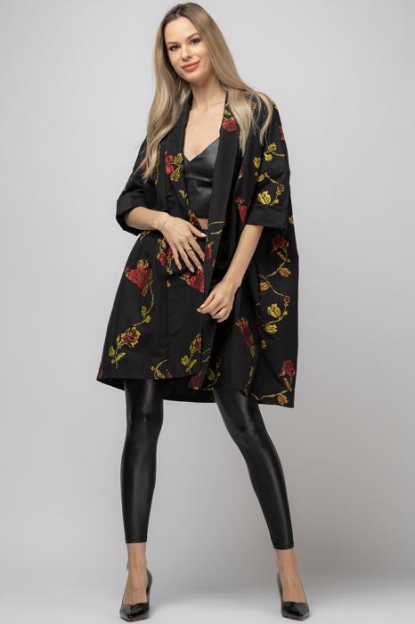 Jacheta midi oversize trendy, neagra cu imprimeu floral 0