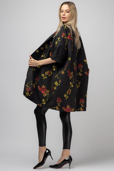 Jacheta midi oversize trendy, neagra cu imprimeu floral 2