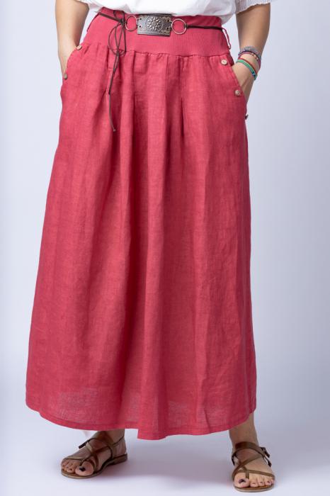 Fusta lunga casual, roz inchis, din in, cu o curea fancy 1