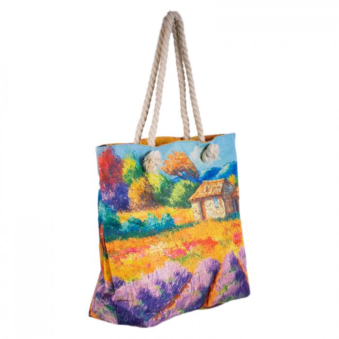 Geanta de plaja din material textil, cu imprimeu camp lavanda [1]