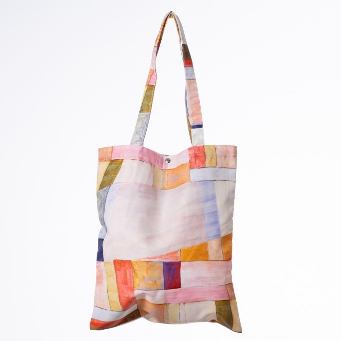 Geanta shopper din material textil, imprimeu geometric pastelat [0]