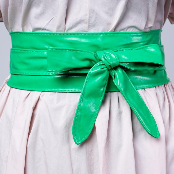 Curea lata petrecuta verde din piele ecologica usor lucioasa [0]