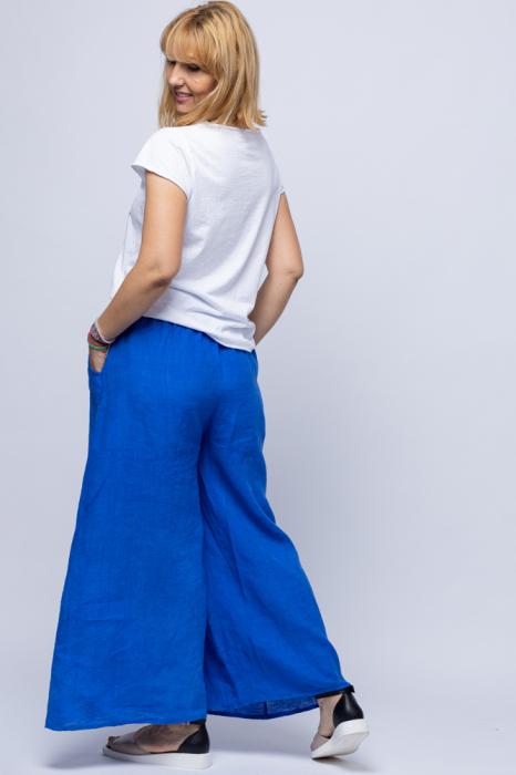 Fusta pantalon albastru electric casual, din in, cu o curea fancy [1]