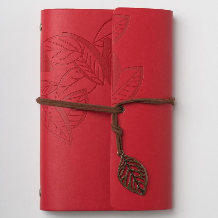 Agenda retro rosie, invelis din piele ecologica, 13 x 19 cm [0]