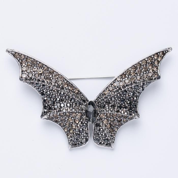 Brosa metalica argintie fluture din pietricele aurii 0