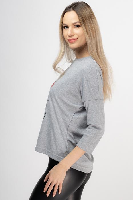 Tricou gri cu imprimeu silueta de pisica 1