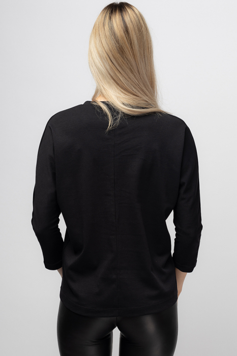 Tricou neagru cu imprimeu pisica colorata [2]