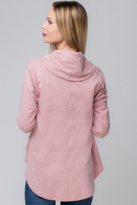Blazer roz prafuit cu guler sal si inchidere intr-o parte [2]