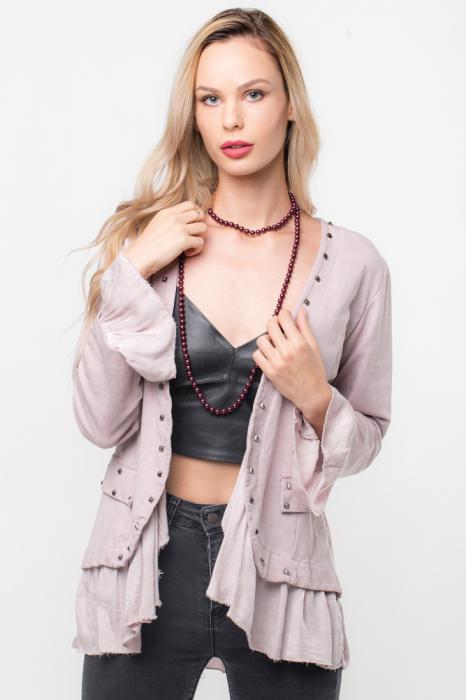 Blazer roz prafuit cu tinte metalice si volan 0