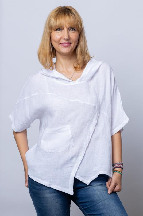 Bluza alba asimetrica din in, cu gluga [0]
