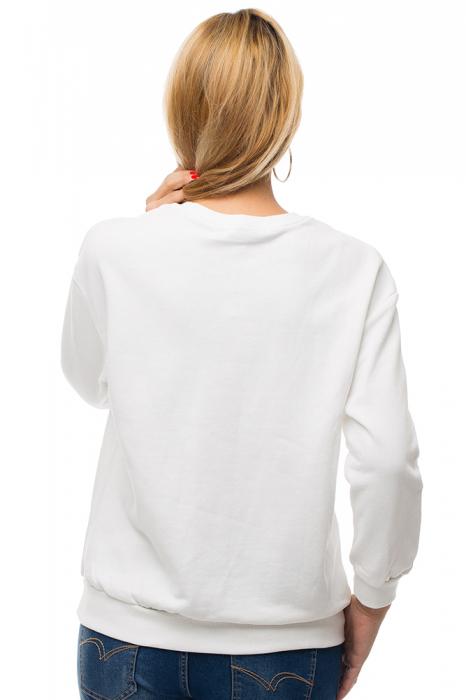 Bluza alba din tricot plin cu aplicatii de catifea si perle 2