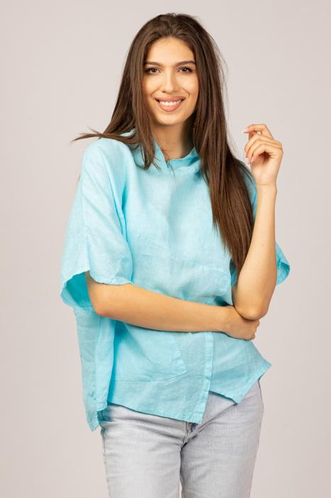 Bluza albastru azzuro din in, cu gluga [0]