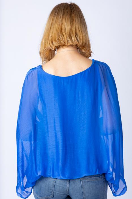 Bluza albastru electric din matase naturala cu maneca fluture [2]