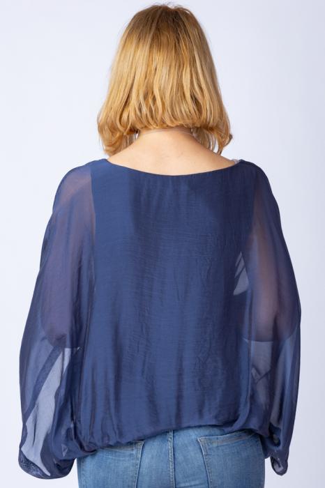 Bluza bleumarin din matase naturala cu maneca fluture [2]