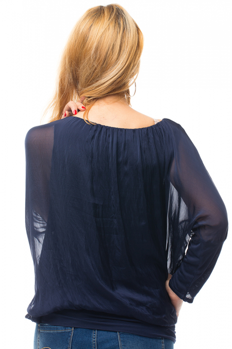 Bluza bleumarin uni din matase naturala cu maneca lunga fluture si elastic la poale 2
