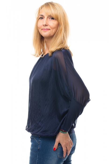 Bluza bleumarin uni din matase naturala cu maneca lunga fluture si elastic la poale 1