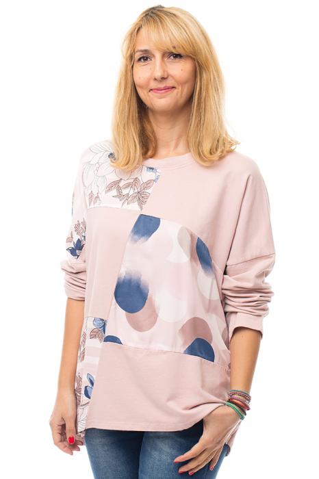 Bluza bumbac roz cu insertii de matase imprimata 3